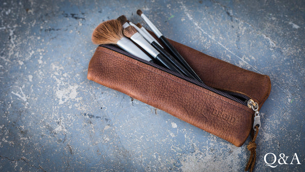 Leather Pencil/Make-up Bag