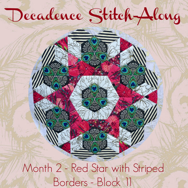 Decadence SAL - Month 2 - Red Star with Striped Border - Block 11