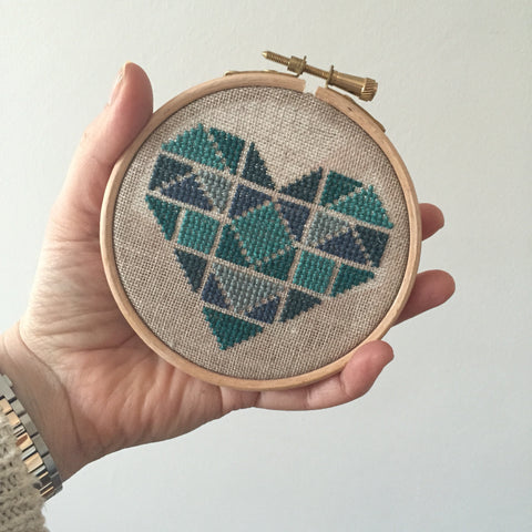 Fiona's favorite pattern - Geometric Heart in Teal