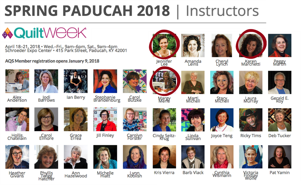AQS Quilt Week Instructors - Spring Paducah 2019