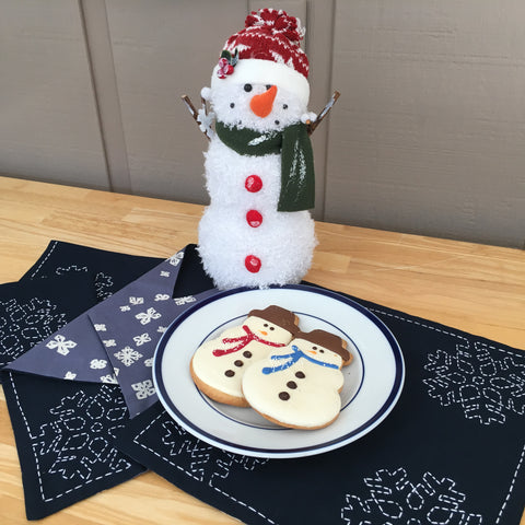 Sashiko Napkins with Snowman