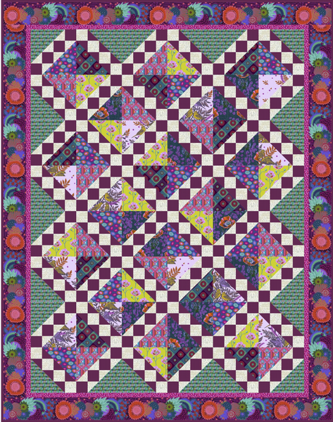 Magenta Song and Dance Twin Quilt