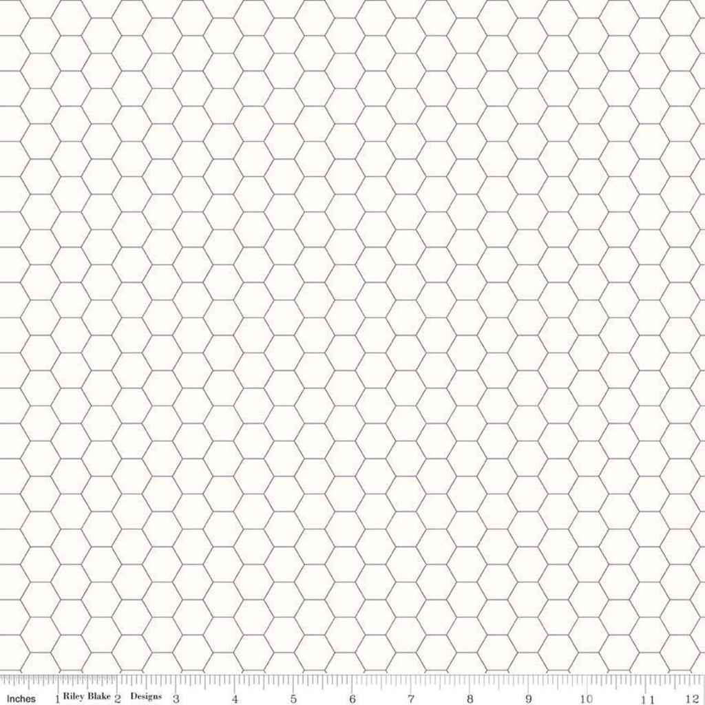 Bee Backgrounds by Lori Holt for Riley Blake Designs - C6387-Gray - Honeycomb