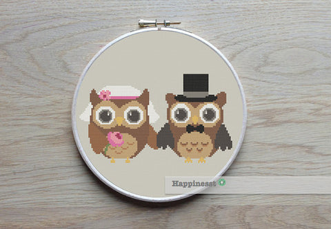 Bride and Groom Owls - PDF Download