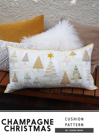 Champagne Christmas Cushion pattern by Louise Papas for Jen Kingwell Desings