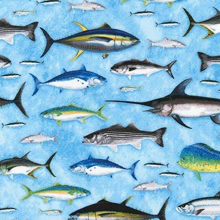 Eat Sleep Fish Collection by Robert Kaufman Fabrics - ANK-16202-76 Regatta