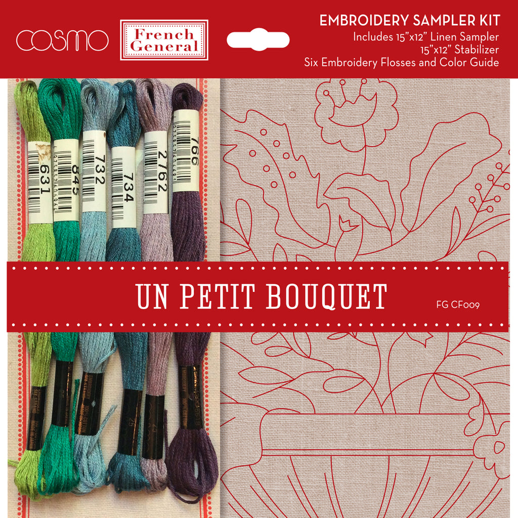 Embroidery Sampler Kit by French General and COSMO - Un Petit Bouquet CF 009