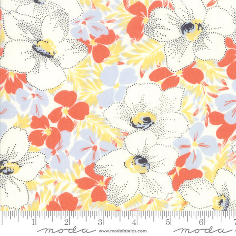 Fine and Sunny by Jen Kingwell for Moda Fabrics - Alstroe Mango Cream 18170 13