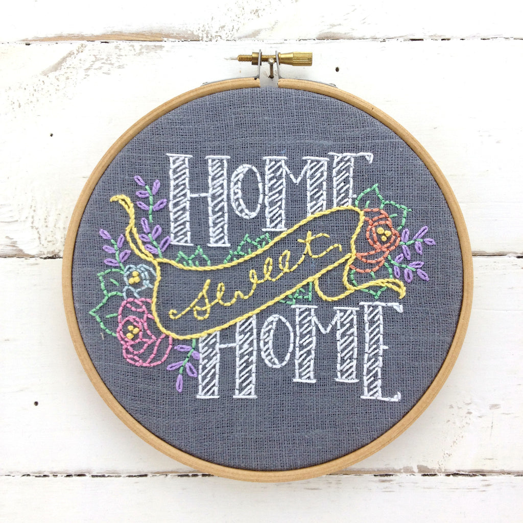 Home Sweet Home Embroidery Kit by iHeartStitchArt