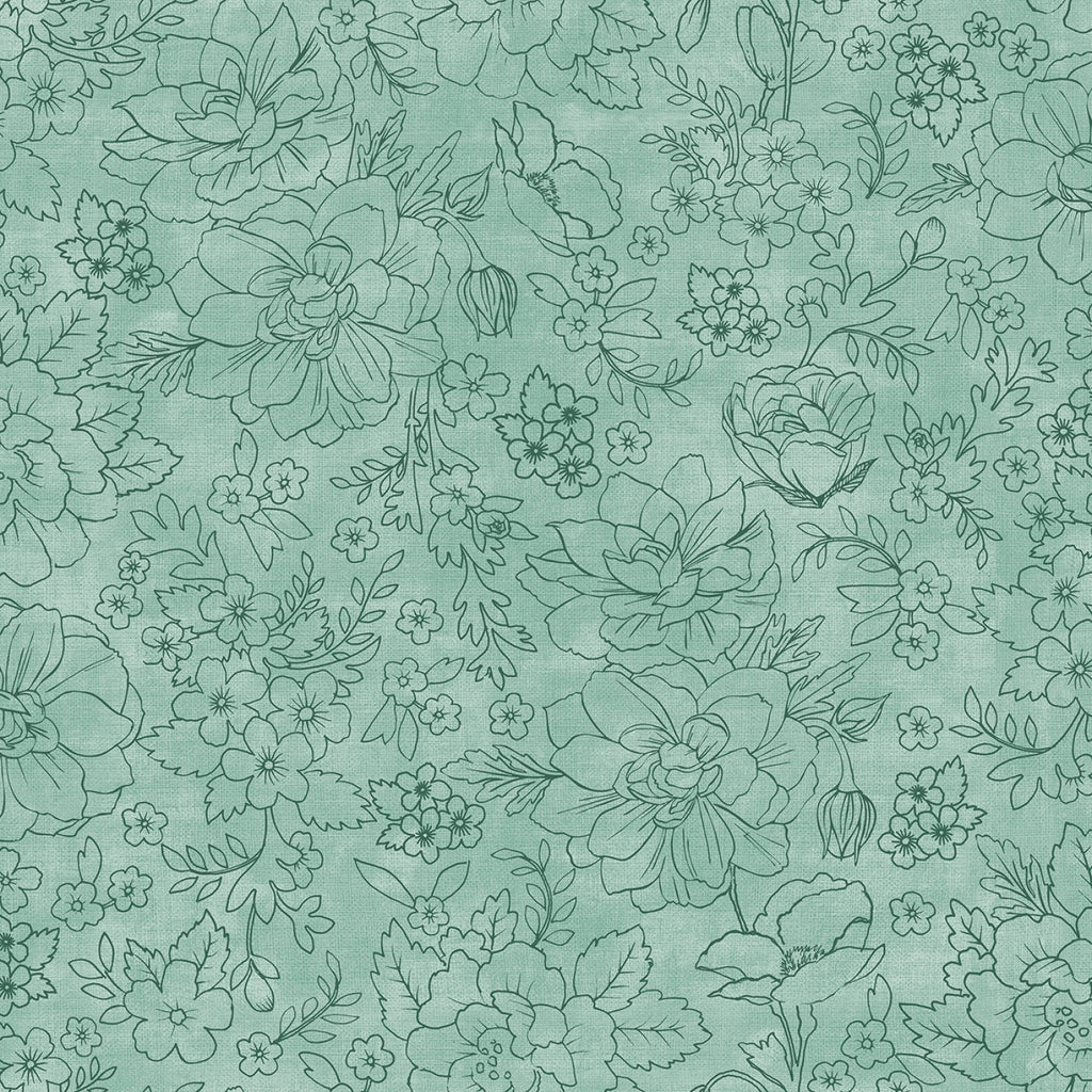 Lilac & Sage by Punch Studio for RJR Fabrics - Mint Toile PS104-M17