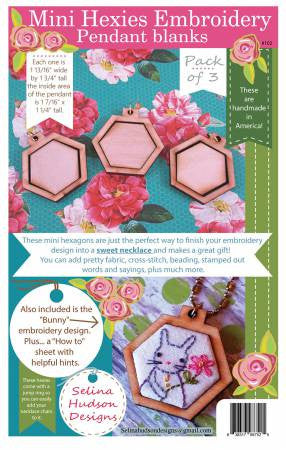 Mini Hexies embroidery pendant Blanks