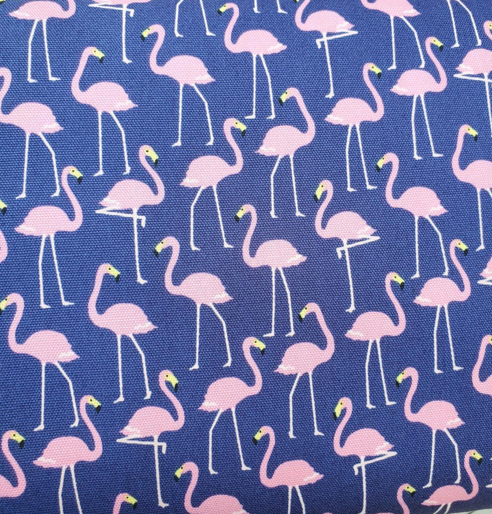 Oxford Japanese Cotton - Standing Flamingo on Navy