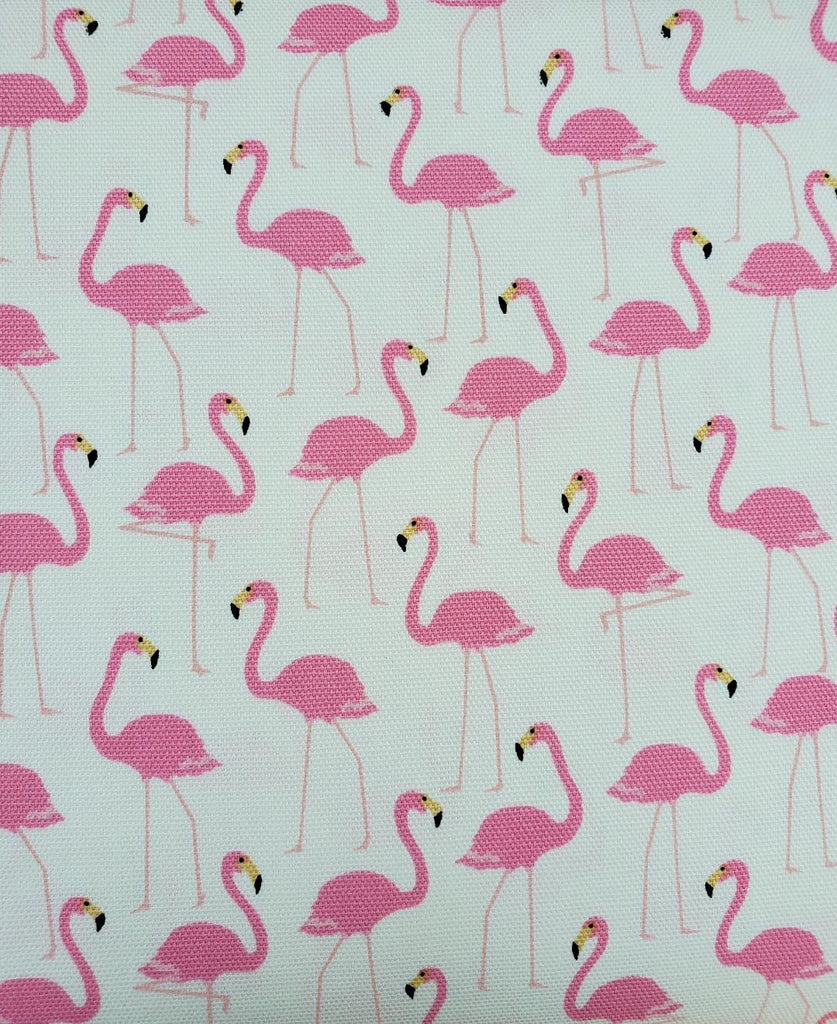 Oxford Japanese Cotton - Standing Flamingo on Natural