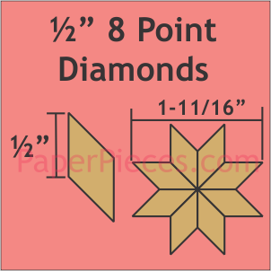 1/2 inch 8 Point Diamond Paper Pieces