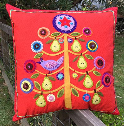 Partridge in a Pear Tree Cushion Pattern by Wendy Williams