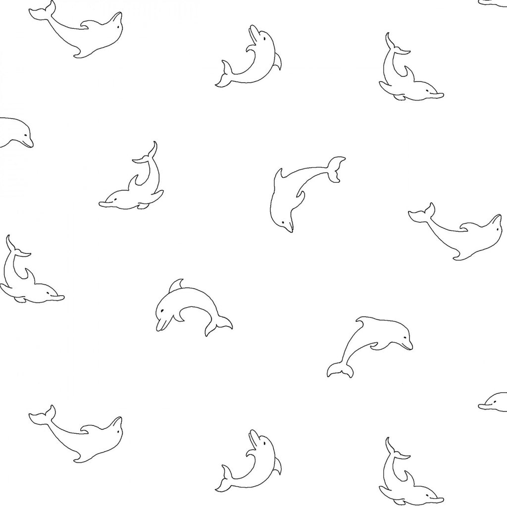 Rambling Fun by P & B Textiles - White on White Dolphins  **New Arrival**