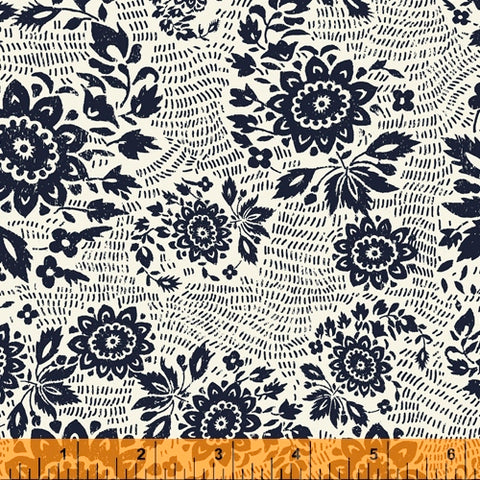 Sashiko Collection by Whistler Studios for Windham Fabrics - 51810-1 Floral Stitch on Ivory