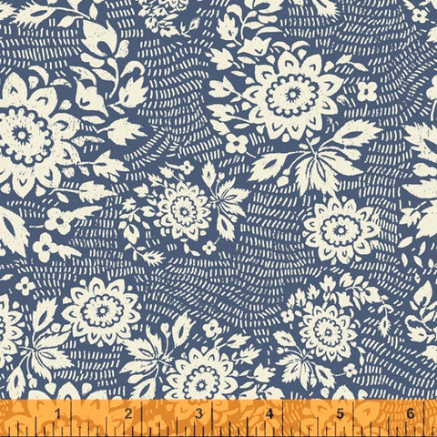 Sashiko Collection by Whistler Studios for Windham Fabrics - 51810-3 Floral Stitch on Denim