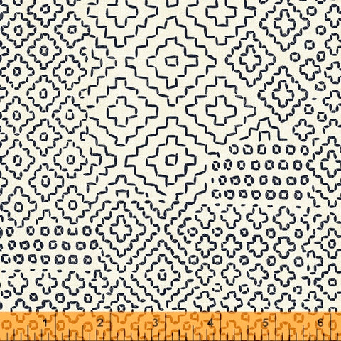 Sashiko Collection by Whistler Studios for Windham Fabrics - 51811-1 Stitch Sampler on Ivory