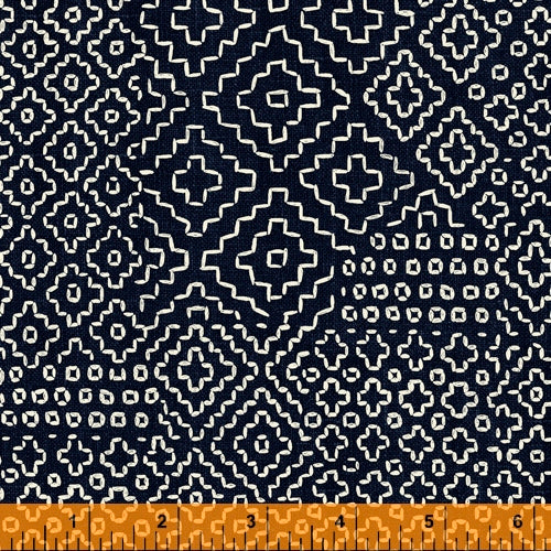 Sashiko Collection by Whistler Studios for Windham Fabrics - 51811-2 Stitch Sampler on Indigo