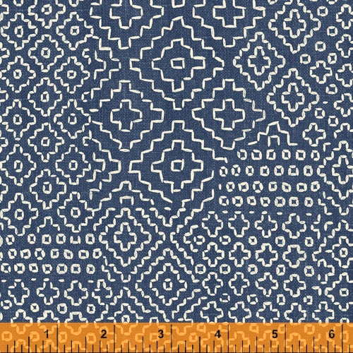 Sashiko Collection by Whistler Studios for Windham Fabrics - 51811-3 Stitch Sampler on Denim