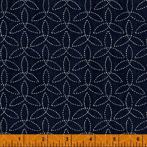 Sashiko Collection by Whistler Studios for Windham Fabrics - 51813-2 Pinwheels on Indigo