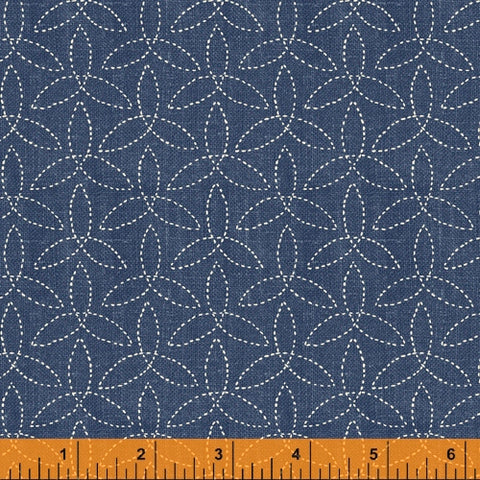 Sashiko Collection by Whistler Studios for Windham Fabrics - 51813-3 Pinwheels on Denim