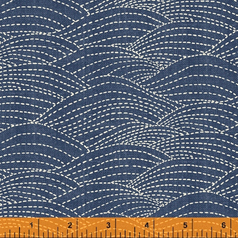 Sashiko Collection by Whistler Studios for Windham Fabrics - 51814-3 Waves on Denim