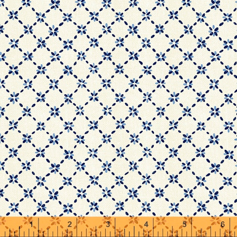 Sashiko Collection by Whistler Studios for Windham Fabrics - 51815-1 Diamond Flower on Ivory