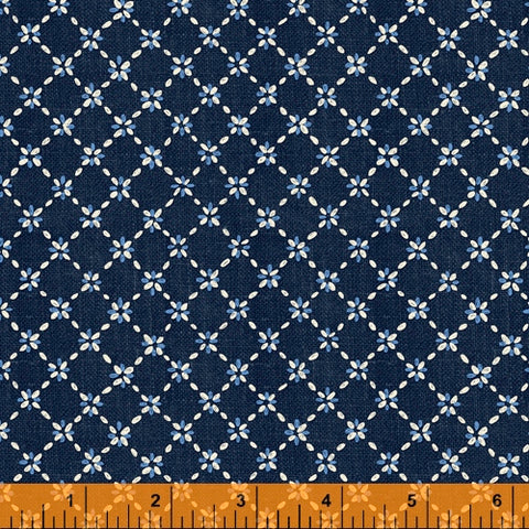 Sashiko Collection by Whistler Studios for Windham Fabrics - 51815-2 Diamond Flower on Indigo