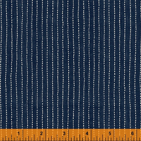 Sashiko Collection by Whistler Studios for Windham Fabrics - 51817-2 Stitched Stripe on Indigo
