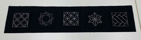 "Sashiko 5-Pattern Cloth ""Traditional Designs"" - Navy"