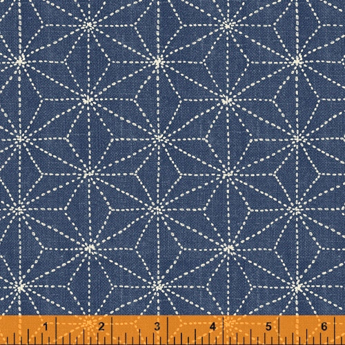 Sashiko Collection by Whistler Studios for Windham Fabrics - 51812-3 Stars on Denim