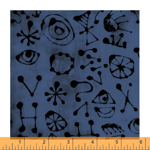 The Blue One by Marcia Derse for Windham Fabrics - 52047-13 Myro Glyphs in San Juan Blue *Arriving Soon*