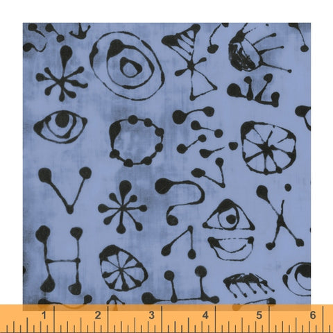 The Blue One by Marcia Derse for Windham Fabrics - 52047-14 Myro Glyphs in Dusty Blue *Arriving Soon*
