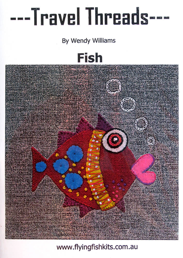 Travel Threads - Fish applique and embroidery block pattern by Wendy Williams