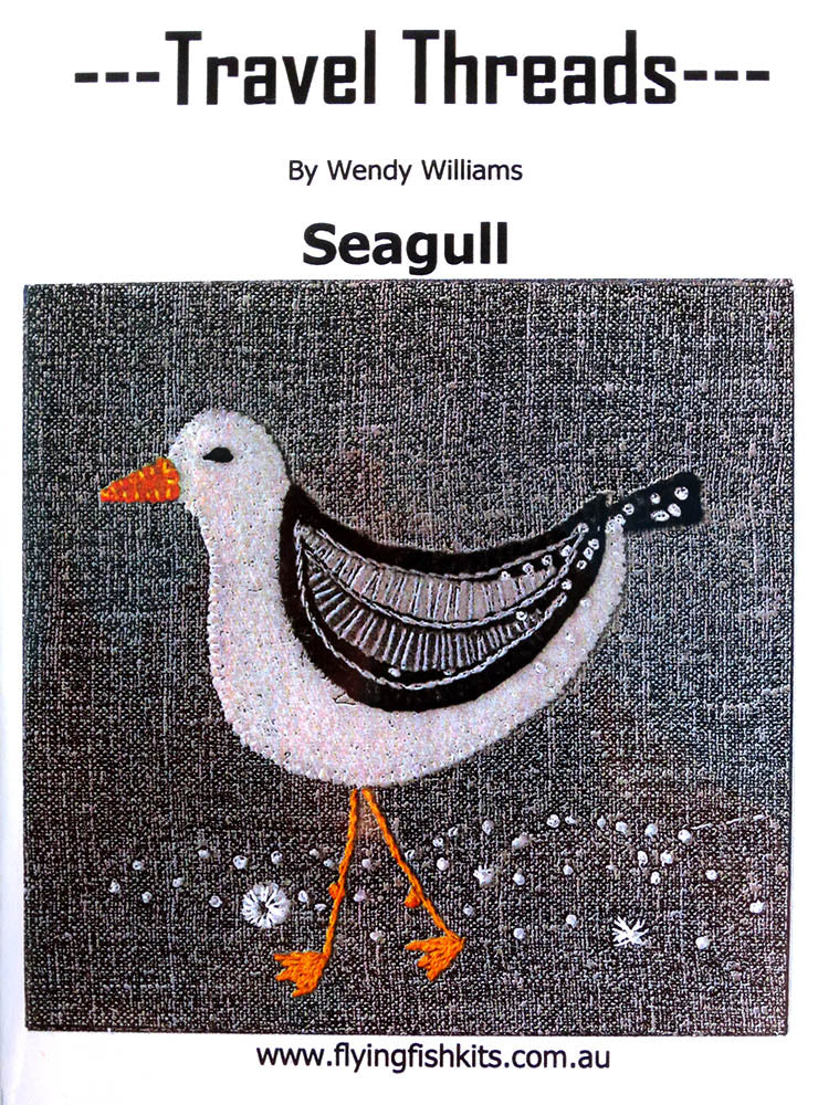 Travel Threads - Seagull applique and embroidery block pattern by Wendy Williams