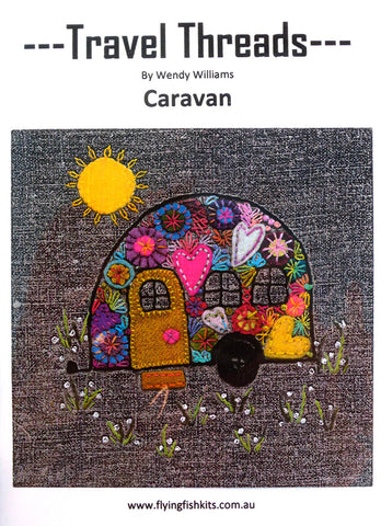 Travel Threads - Caravan applique and embroidery block pattern by Wendy Williams