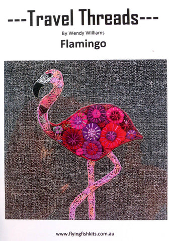 Travel Threads - Flamingo Applique and Embroidery Block Pattern by Wendy Williams