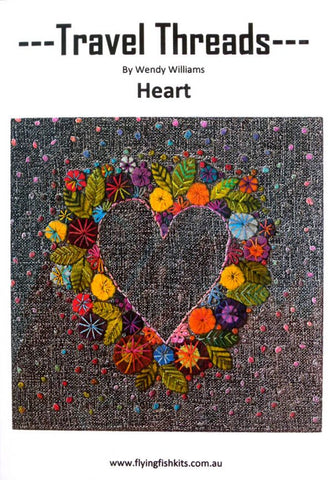 Travel Threads - Heart applique and embroidery block pattern by Wendy Williams