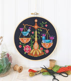 Zodiac Libra Cross Stitch Design by Satsuma Street
