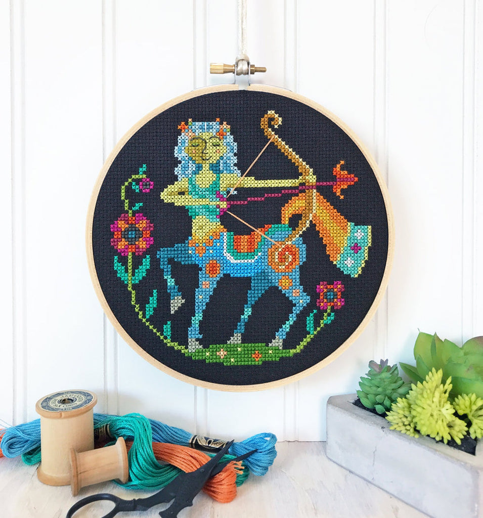 Zodiac Sagittarius Cross Stitch Design by Satsuma Street
