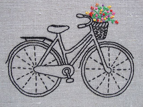 Vintage Bicycle Embroidery Kit by Sarah Milligan of iHeartStitchArt
