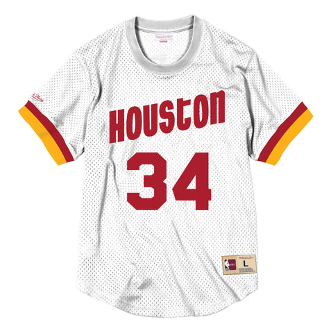 Hakeem Olajuwon Name & Number Mesh Crewneck Houston Rockets