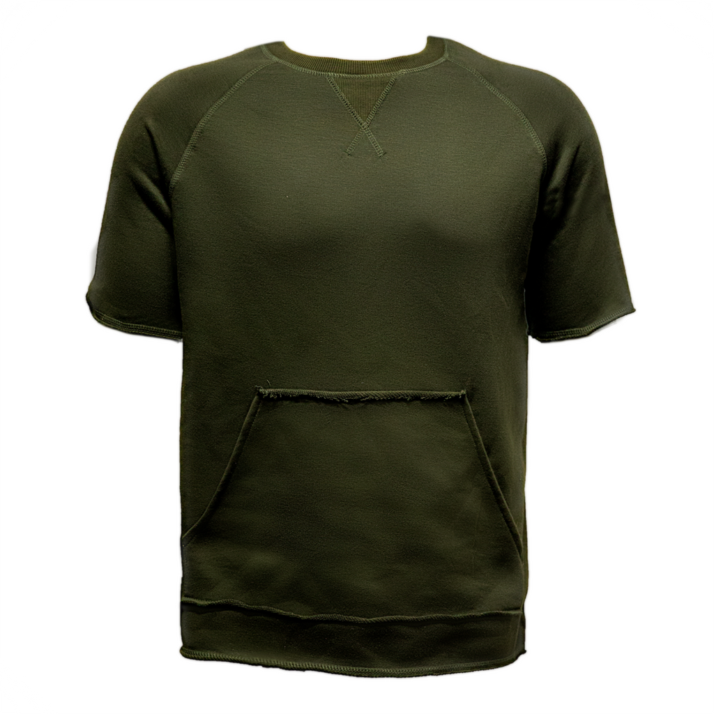 Raw Cut French Terry Top Olive
