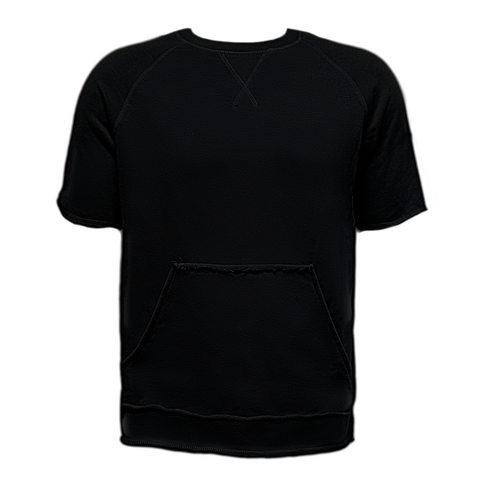 Raw Cut French Terry Top Black