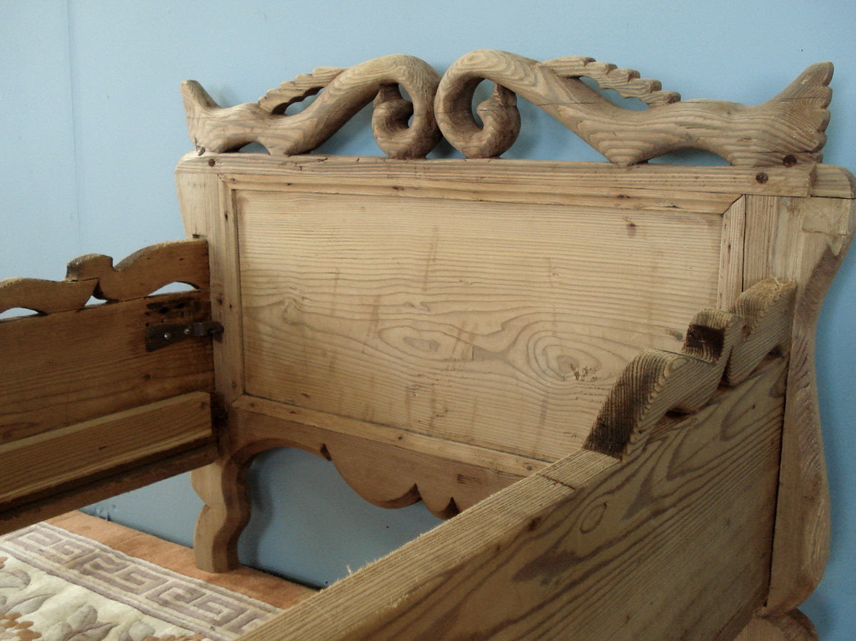 Carved Antique Pine Childs Bed