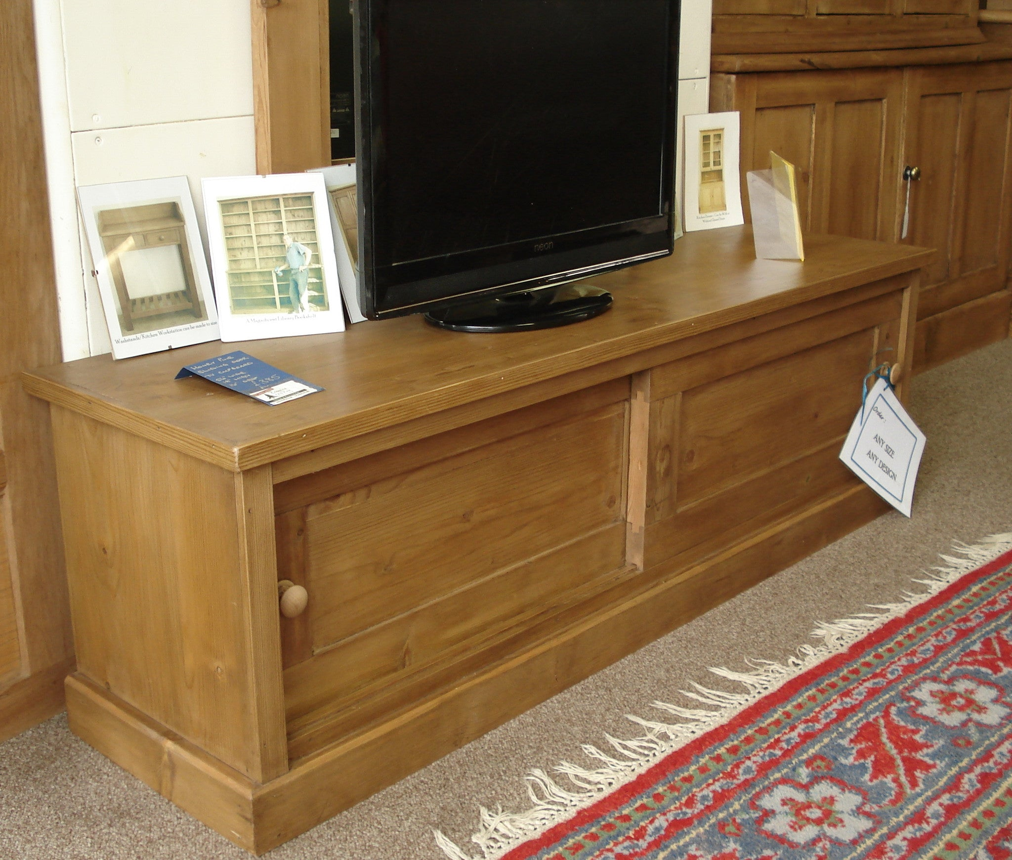 Honey Pine Sliding Door TV Cabinet