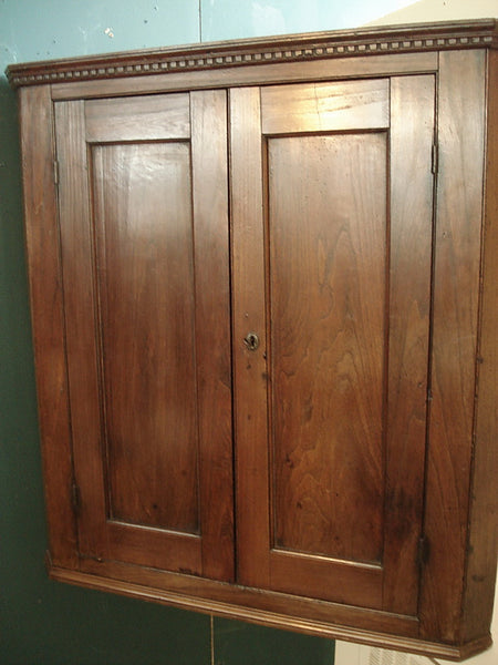 Elm two door hanging corner cupboard