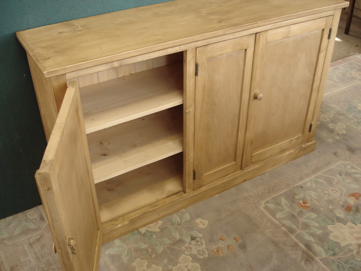 Honey Pine Three Door Cupboard. We make to measure.